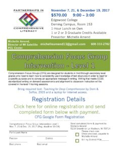 Comprehension Focus Group Level I flyer 2017-18