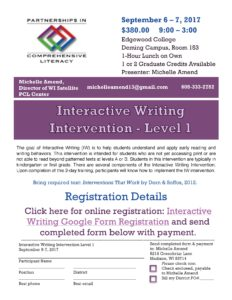 Interactive Writing Level I flyer 2017-18