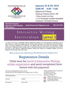 Level 2 Interactive Writing flyer 2017-18