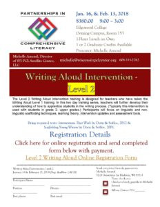 Level 2 Writing Aloud Intervention flyer 2017-18