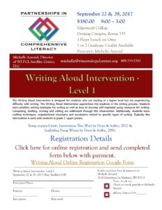 Writing Aloud Intervention Level I flyer 2017-18